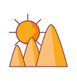 mountains in the desert with sun vector image vector image