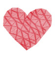 pink heart of triangles and stripes texture vector image vector image