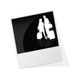 polaroid photo frame with couple travel silhouette vector image vector image