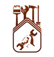 repair symbol with a wrench in his hand vector image