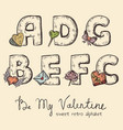 retro valentine alphabet - a b c d e f g vector image vector image