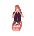 sad young woman eating donuts concept binge vector image vector image