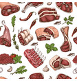 seamless pattern with different color meats vector image