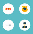 set of crime icons flat style symbols with police vector image
