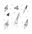 set of hand drawn doodle rocket icon and rocket vector image vector image