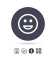 smile icon happy face symbol vector image vector image