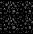 stem learning dark outline seamless pattern vector image