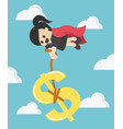 super business woman pulling silver dollar money vector image vector image