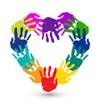 teamwork hands print heart shape logo vector image