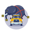 transportation an elephant truck vector image vector image