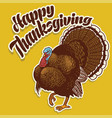 turkey badge greeting happy thanksgiving vector image vector image