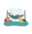 woman lying in hammock pet sitting near female vector image vector image