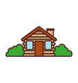 wooden cabin house bushes chimney camp exterior vector image vector image