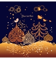 Autumn background with leaves birds and trees vector image