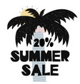 advert card with lettering 20 summer sale wit palm vector image vector image