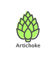 artichoke thin line icon isolated vegetables vector image vector image