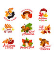 autumn leaf acorn or berry and mushroom vector image vector image