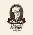 bakery bakehouse logo or label home baking vector image vector image