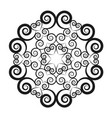 black and white circular round mandala vector image vector image
