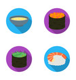 bowl of soup caviar shrimp with rice sushi set vector image
