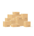 box pile cardboard boxes different size vector image
