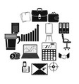 business and office work icons set simple style vector image