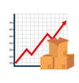 carton boxes with arrow up statistics vector image