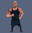 cartoon funny muscular male athlete in black vector image vector image
