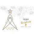 christmas and new year abstract gold line tree vector image vector image