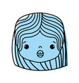 color girl head with hairstyle and surprised face vector image