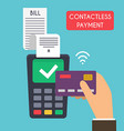 Contactless payment Male hand holding credit card vector image vector image