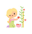 cute young girl in overalls and rubber boots vector image vector image