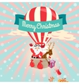 Festive Merry Christmas greeting card with Santa vector image vector image