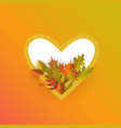 Flat autumn leaves pumpkin heart frame