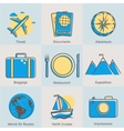 Flat line tourism icons set Modern design style vector image vector image
