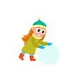 girl having fun with snoball isolated vector image
