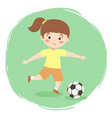 girl playing football soccer cartoon vector image vector image
