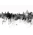Hamburg skyline in black watercolor on white vector image vector image