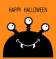 happy halloween card monster head silhouette with vector image vector image