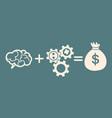 idea concept braingearsbag of money vector image vector image