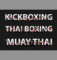 kickboxing thai boxing muay thai action on flat vector image vector image