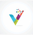 letter v logo concept with colorful and dot color vector image