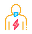 lightning on body icon outline vector image vector image