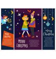 merry christmas couple man and woman dancing vector image vector image