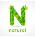 n natural green logo vector image vector image