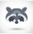 raccoon head flat icon vector image