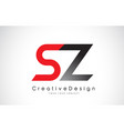 red and black sz s z letter logo design creative vector image