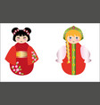 Russian dolls and the Chinese doll together on whi vector image