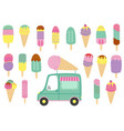 set isolated ice cream and truck vector image vector image