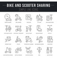 set line icons bike and scooter sharing vector image vector image